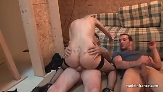 French mom fuck grandad and her son